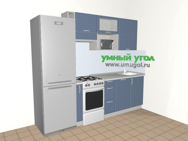 Хрущевка: Дымчато-голубая кухня для однушки