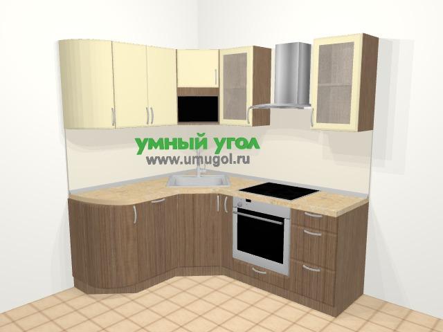 Угловая кухня МДФ матовый в современном стиле 5,8 м², 160 на 200 см (зеркальный проект), Ваниль / Лиственница бронзовая: верхние модули 72 см, посудомоечная машина, корзина-бутылочница, встроенный духовой шкаф