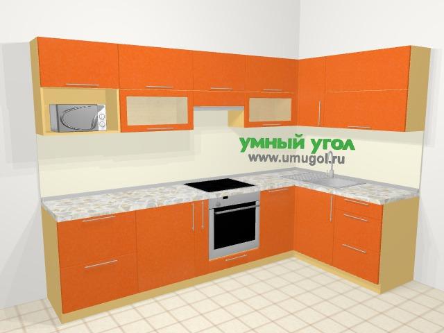 Угловая кухня МДФ металлик в современном стиле 7,5 м², 295 на 160 см, Оранжевый металлик: верхние модули 72 см, корзина-бутылочница, встроенный духовой шкаф, посудомоечная машина, модуль под свч