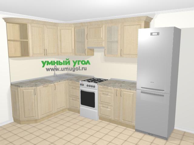Угловая кухня из массива дерева в классическом стиле 7,5 м², 170 на 300 см (зеркальный проект), Светло-коричневые оттенки: верхние модули 72 см, посудомоечная машина, отдельно стоящая плита, корзина-бутылочница, холодильник