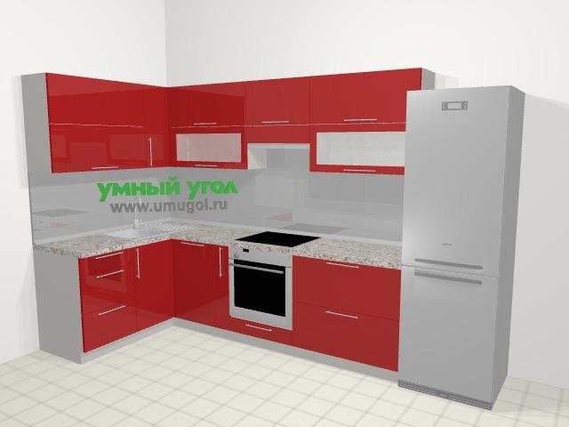 Угловая кухня МДФ глянец в современном стиле 6,3 м², 150 на 325 см (зеркальный проект), Красный: верхние модули 72 см, посудомоечная машина, корзина-бутылочница, встроенный духовой шкаф, холодильник