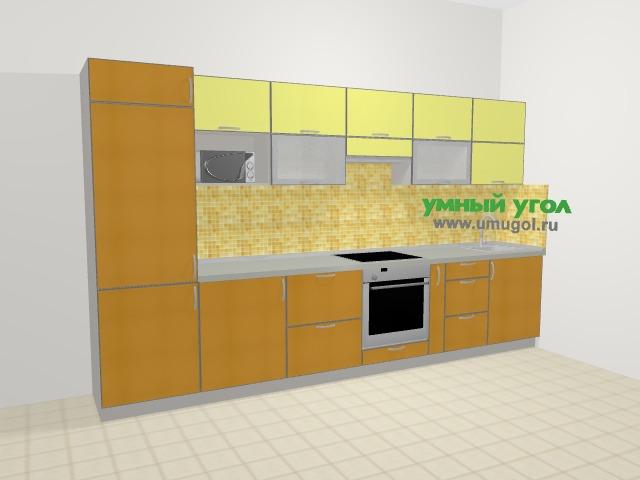 Кухни из пластика в современном стиле 6,0 м², 360 см, Желтый глянец: верхние модули 72 см, встроенный духовой шкаф, корзина-бутылочница, модуль под свч