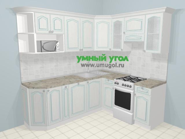 Угловая кухня МДФ патина в стиле прованс 6,2 м², 220 на 180 см (зеркальный проект), Лиственница белая: верхние модули 72 см, корзина-бутылочница, посудомоечная машина, отдельно стоящая плита, модуль под свч
