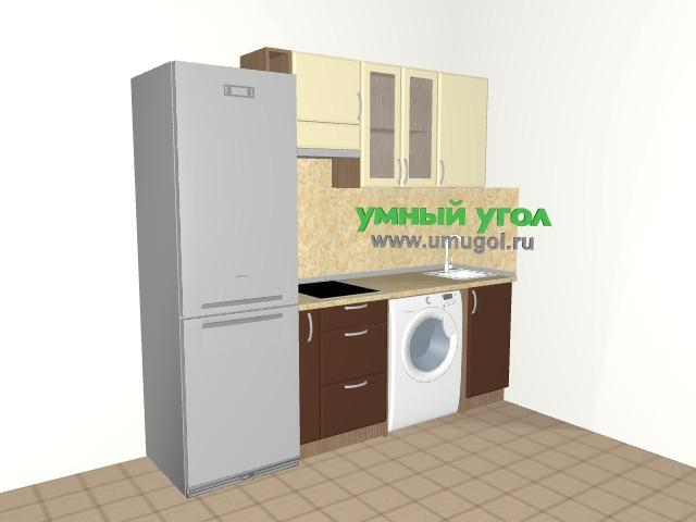 Маленькая прямая кухня со стиральной машиной