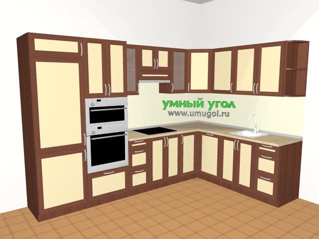 Кухонный гарнитур с пеналом и встроенным холодильником