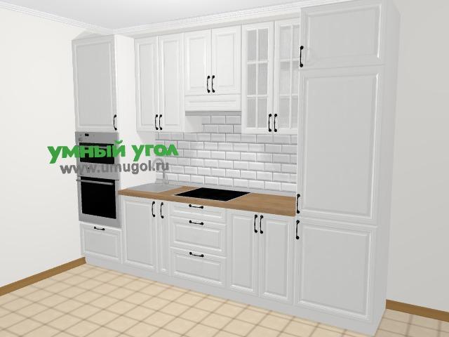 Прямая кухня из массива дерева в скандинавском стиле 5,0 м², 300 см (зеркальный проект), Белые оттенки: верхние модули 92 см, корзина-бутылочница