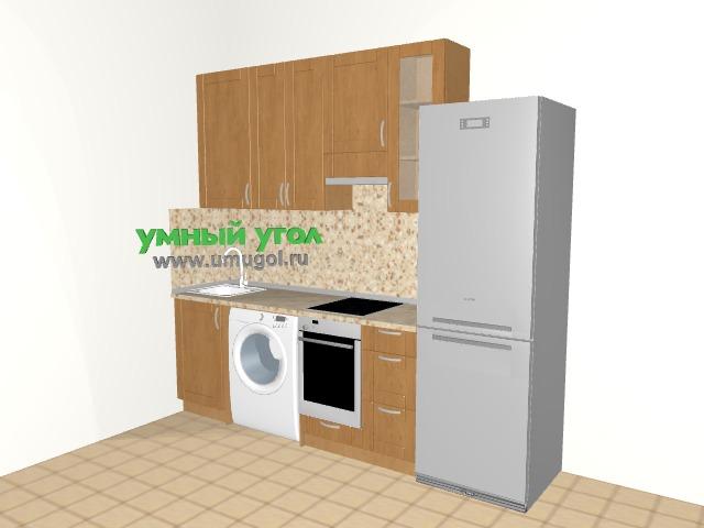 Прямая кухня со стиральной машиной в однокомнатную квартиру
