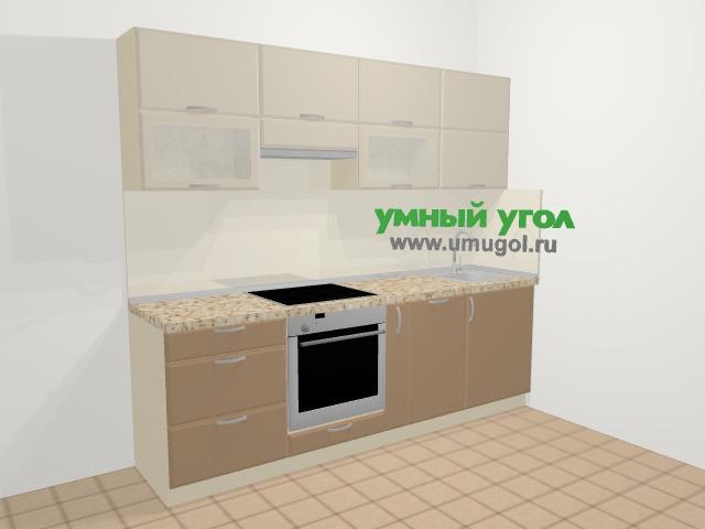 Прямая кухня МДФ матовый в современном стиле 5,0 м², 240 см, Керамик / Кофе: верхние модули 72 см, встроенный духовой шкаф, корзина-бутылочница, посудомоечная машина