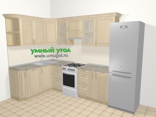 Угловая кухня из массива дерева в классическом стиле 7,5 м², 160 на 300 см (зеркальный проект), Светло-коричневые оттенки: верхние модули 72 см, посудомоечная машина, отдельно стоящая плита, корзина-бутылочница, холодильник