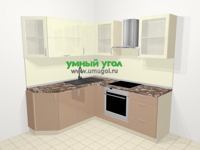 Угловая кухня МДФ глянец в современном стиле 5,0 м², 180 на 200 см (зеркальный проект), Жасмин / Капучино: верхние модули 72 см, посудомоечная машина, корзина-бутылочница, встроенный духовой шкаф