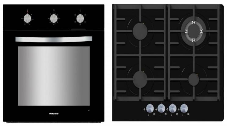 MONTPELLIER SFGP12 BLACK FITTED OVEN AND GAS ON GLASS HOB PACK  image
