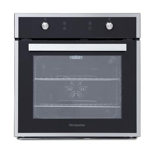 MONTPELLIER SFO67MBXBLACK WITH STAINLESS STEEL TRIM SINGLE MULTIFUNCTION FITTED OVEN image