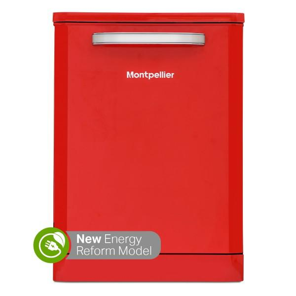 MONTPELLIER MAB6015R60CM FREESTANDING RETRO DISHWASHER IN RED image