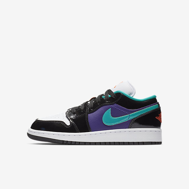 Air Jordan 1 Low Black Court Purple Turbo Green (GSサイズ)