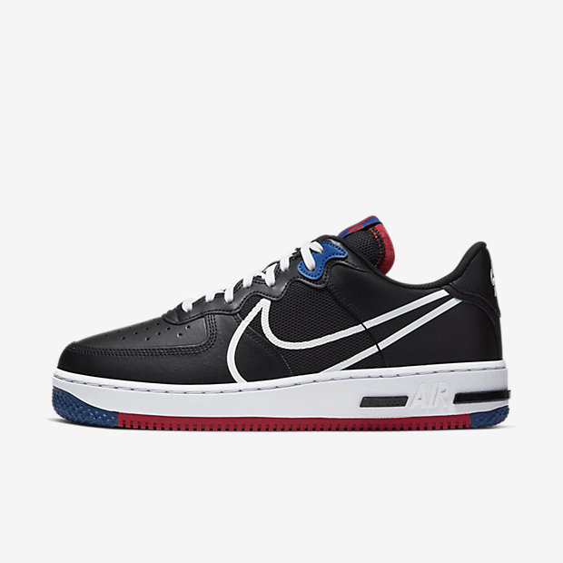 Air Force 1 Low React Black White Gym Red Gym Blue [1]