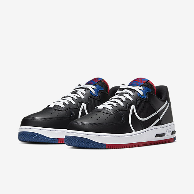 Air Force 1 Low React Black White Gym Red Gym Blue [4]