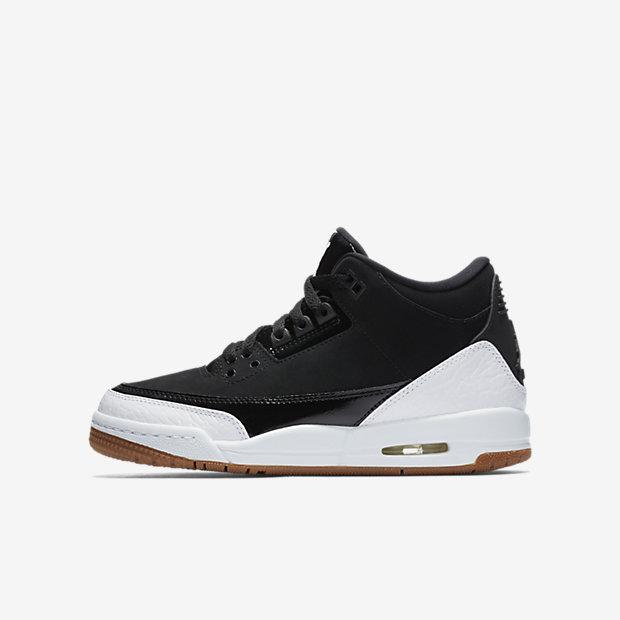 Air Jordan 3 Retro Black White Gum (GSサイズ)