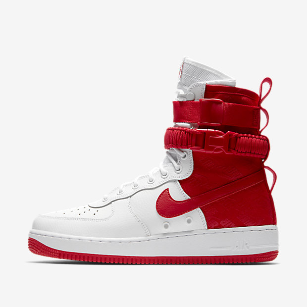 SF Air Force 1 High White University Red