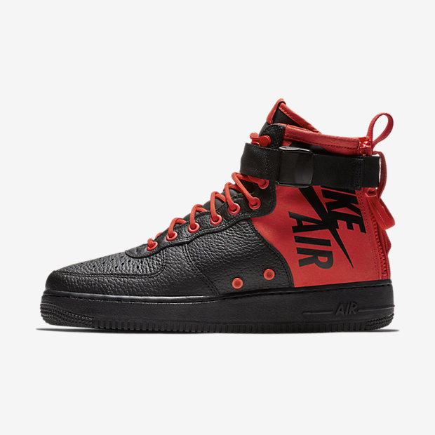 SF Air Force 1 Mid Habanero Red Black