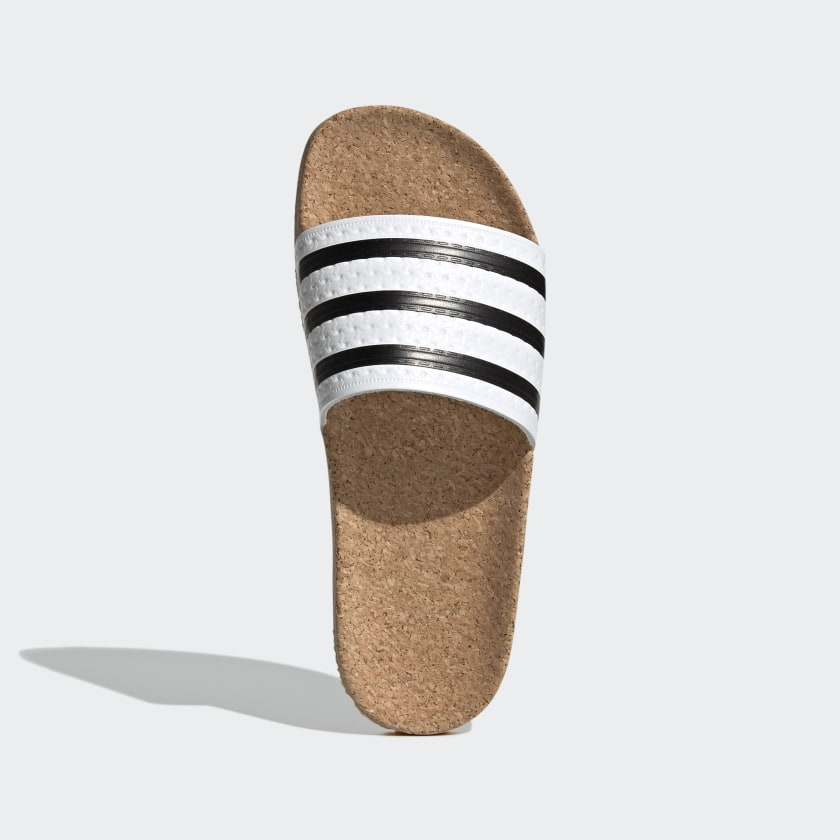 ADILETTE CORK SLIDES Cloud White