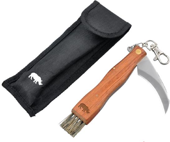 Sammenleggbar soppkniv med neshornlogo.