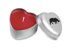 Valentine spesial - duftlys med neshorndekor.