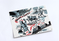 """Reproduksjon av Marvin Hallerakers illustrasjon """"Halve folket i arbeid"""""""
