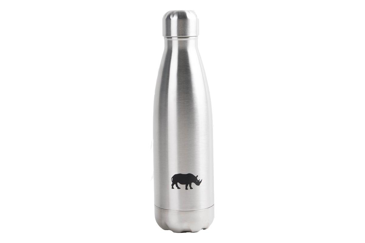 Termoflaske i sølv med neshorn