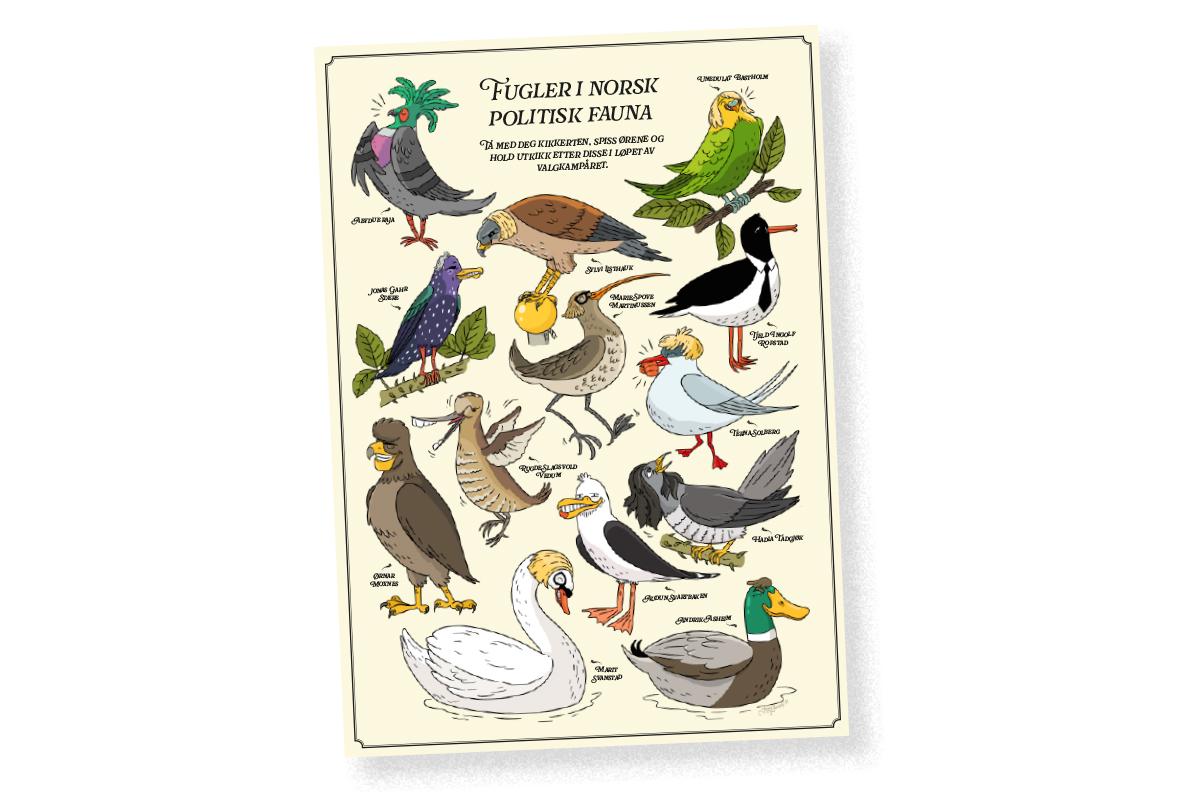 Politisk fugleplansje i A3, signert av Jenny Jordahl