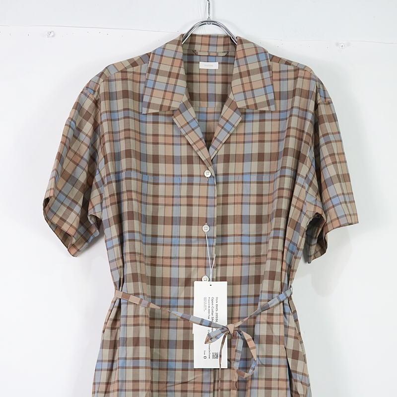 blurhms / ブラームス オープンカラーチェックシャツドレスワンピース
