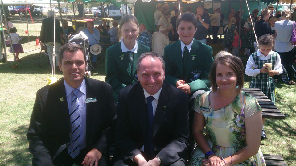 Federal Member for New England, Barnaby Joyce, talks with Girl School Captain, Lucy Gardiner, Boy School Captain, Liam Smith, Principal Richard Cotter and Lower Division Teacher Lauren Piddington at the Kelly?s Plains 150th celebrations.
