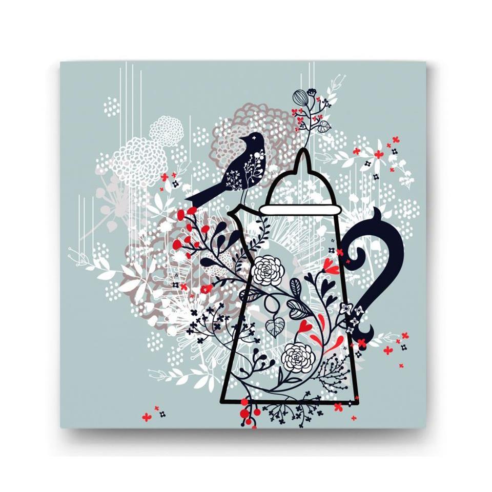 لوحة بتصميم مزخرف بورود وابريق شاي