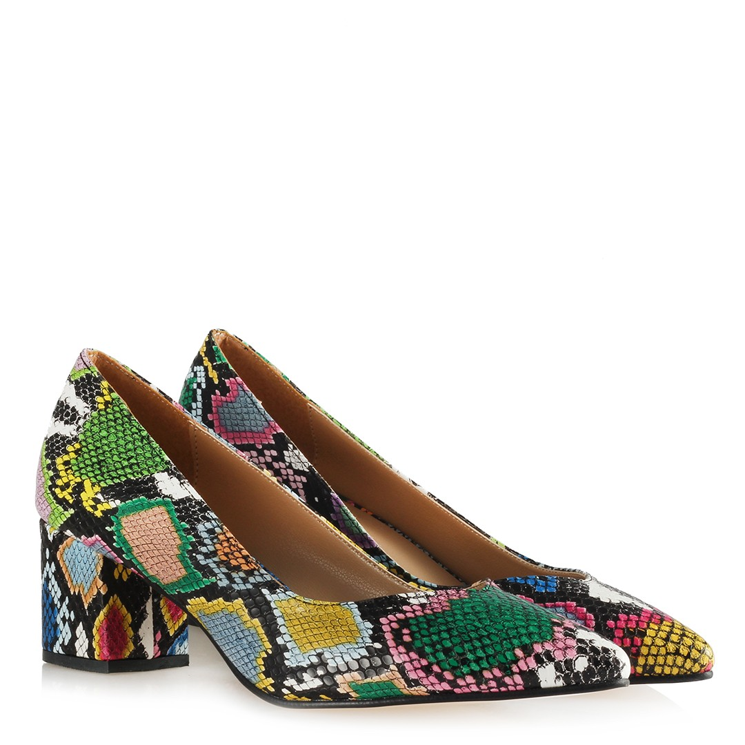 Women's Multi-color Snake Pattern Low Heeled Shoes