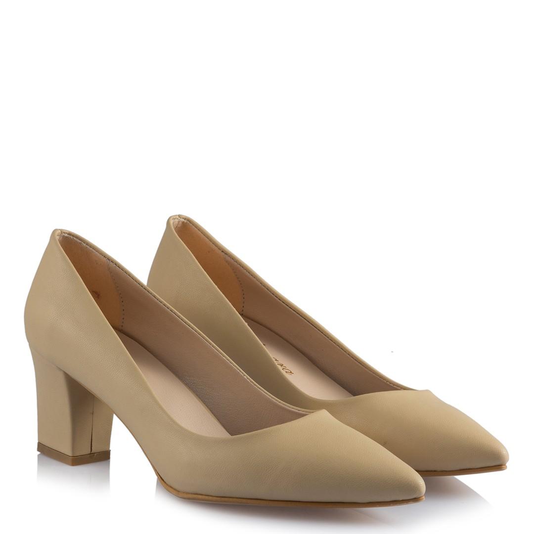 Women's Matte Mink Thick Heeled Shoes