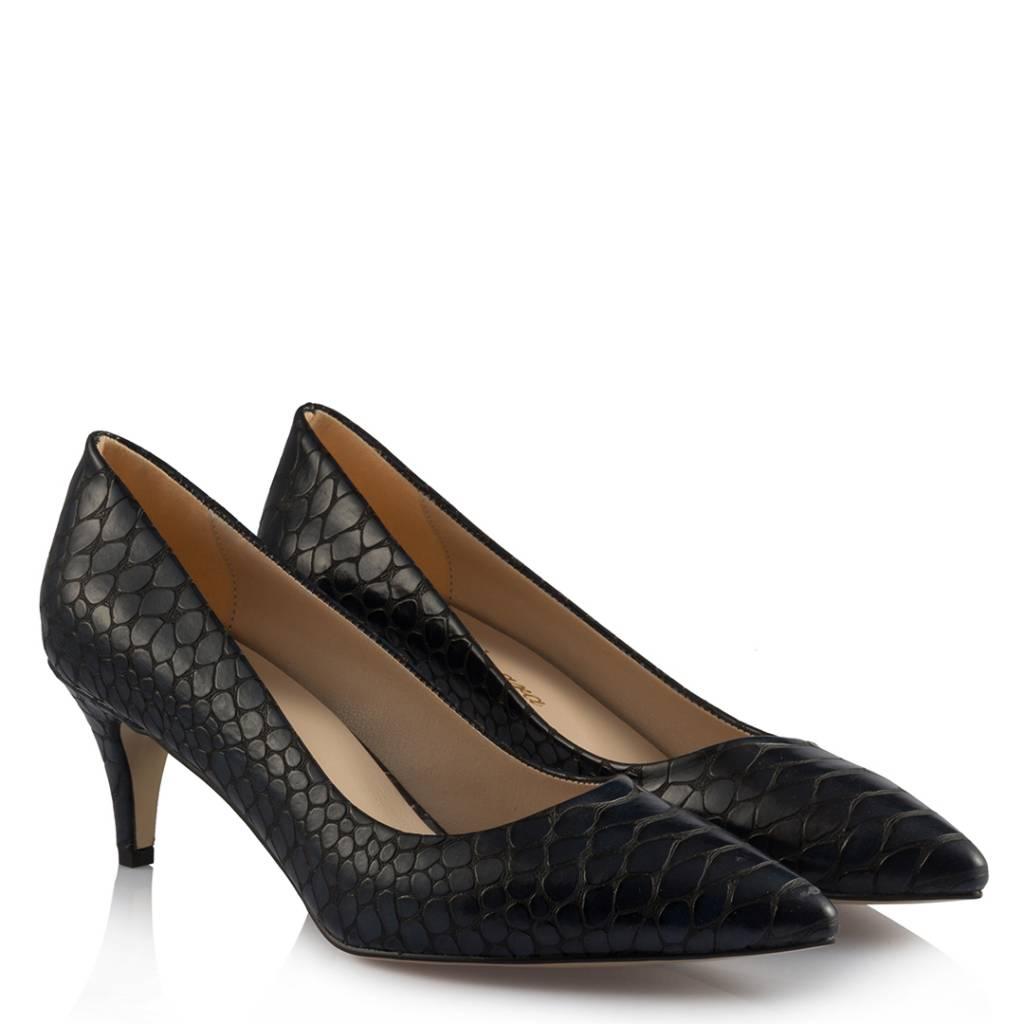 Women's Navy Blue Crocodile Low Heeled Stiletto Shoes