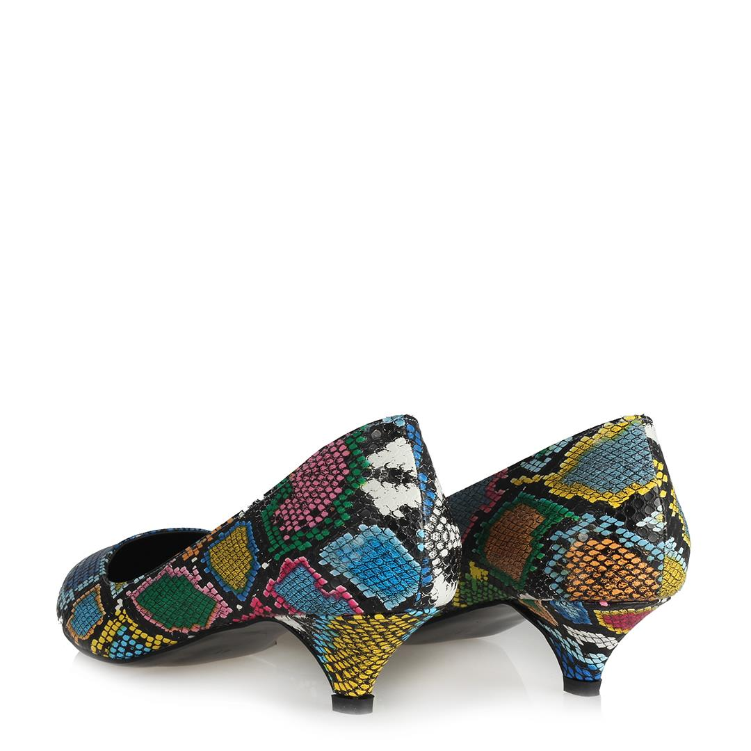 Women's Snake Pattern Multi-color Low Heeled Shoes