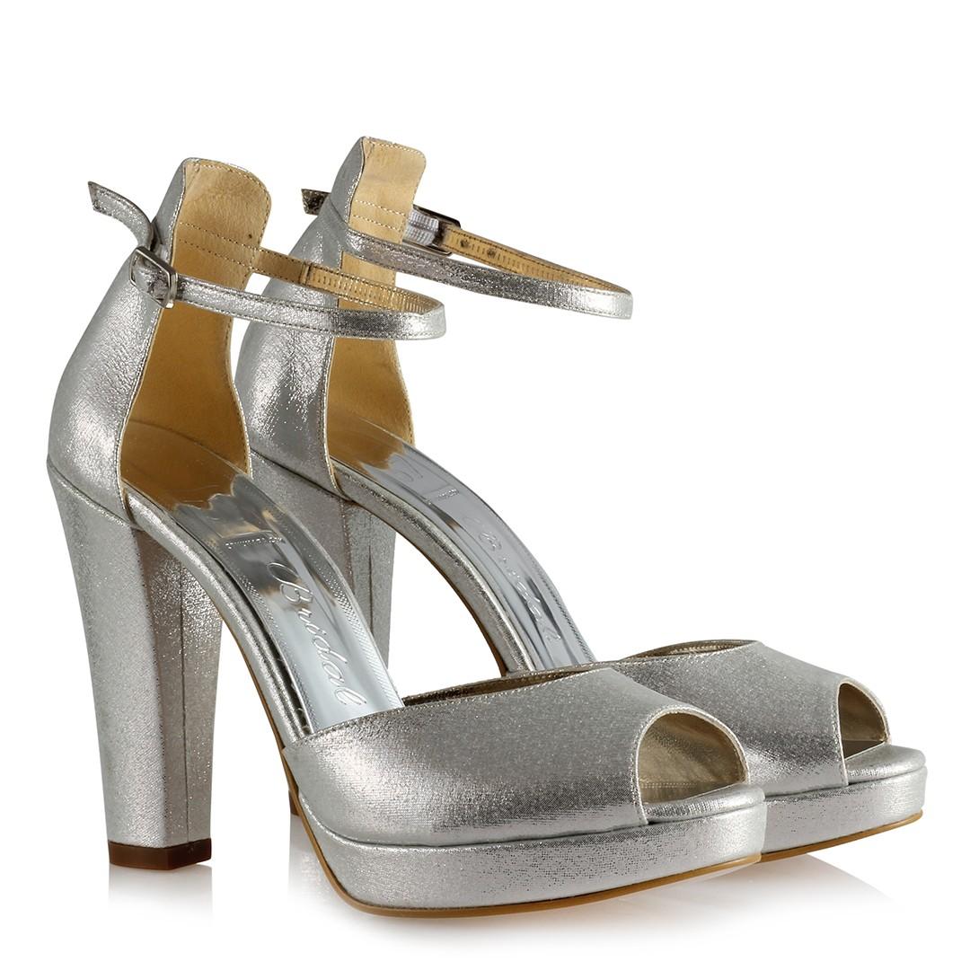 Women's Ankle Strap Lamé Heeled Shoes