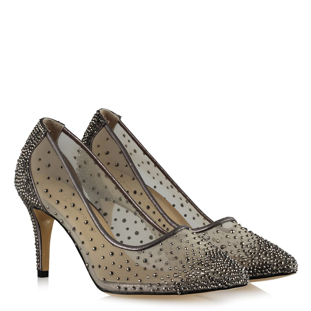 Women's Gemmed Smoky Tulle Heeled Shoes