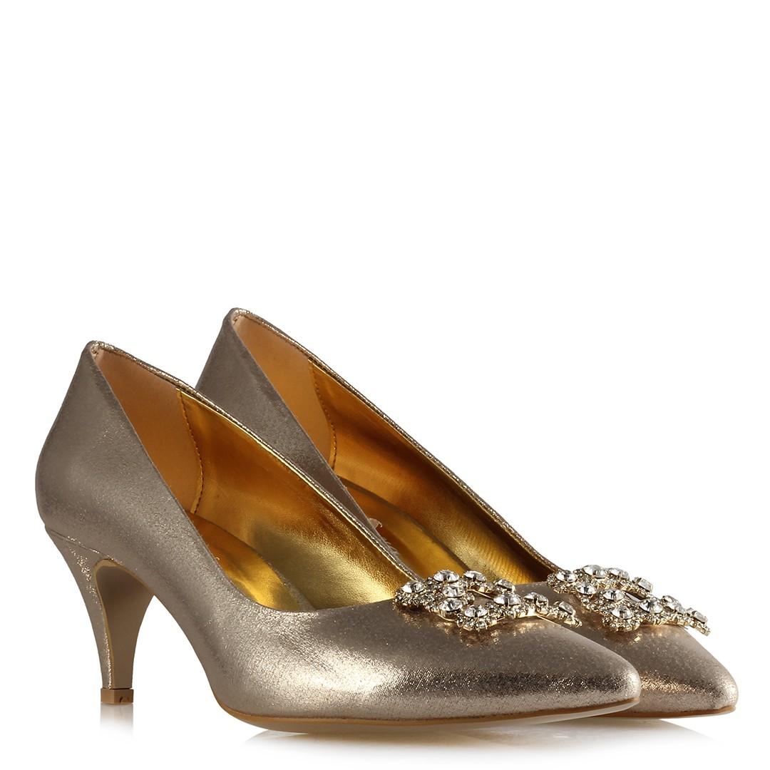 Women's Gemmed Gold Low Heeled Shoes