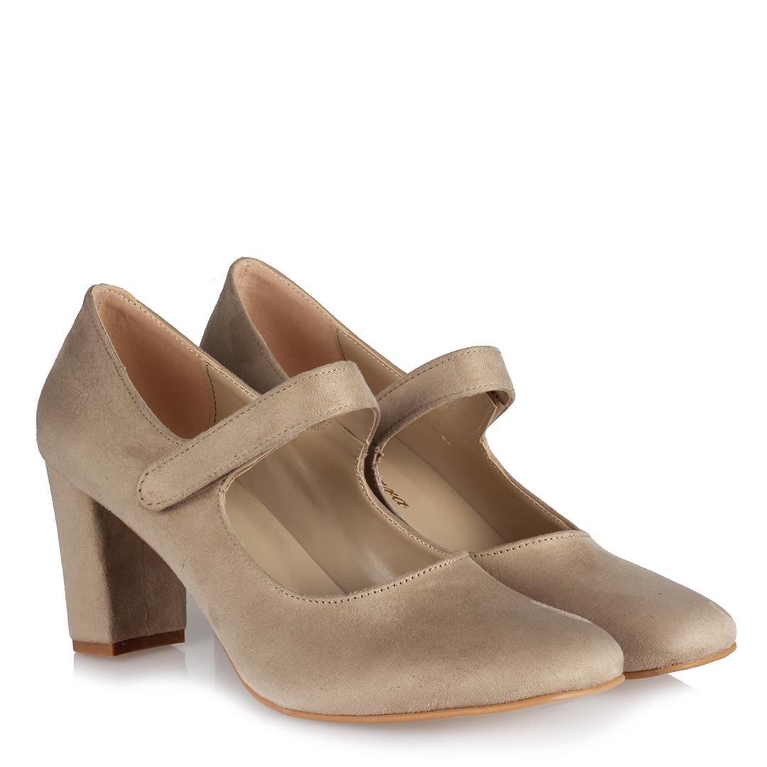 Women's Velcro Strap Mink Suede Heeled Shoes