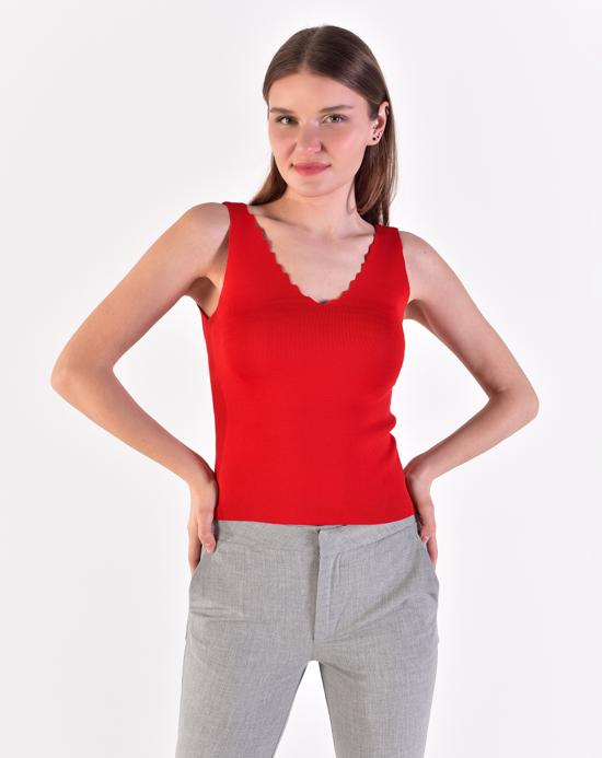 Women's Strappy Red Tricot Blouse