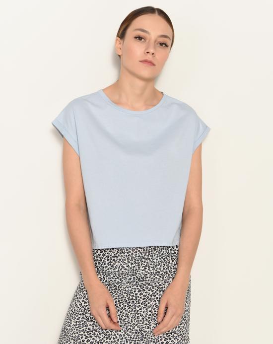 Women's Crew Neck Basic Blue T-shirt