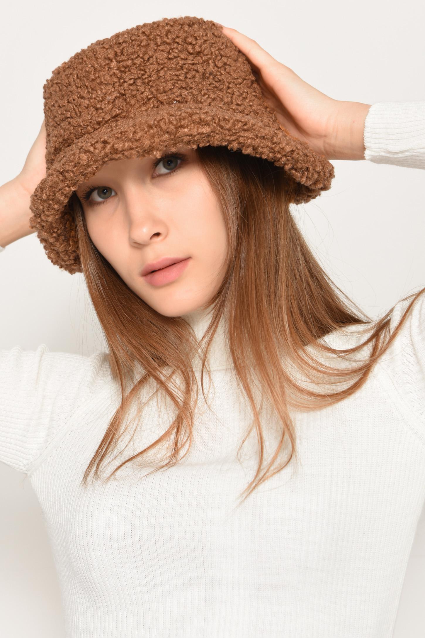 قبعة بوكيت بني موحدة اللون نسائية