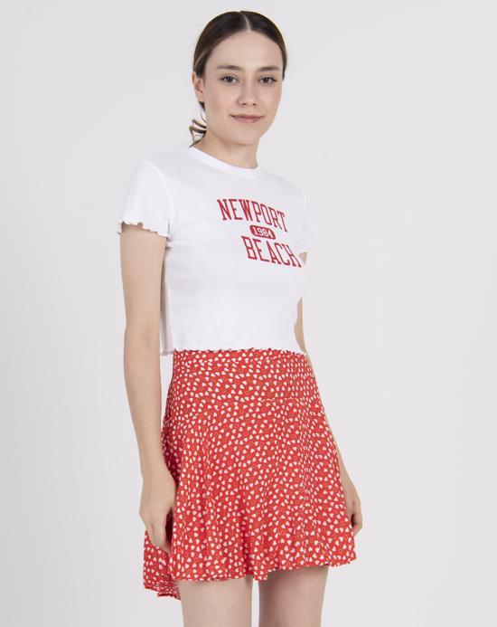 Women's Text Print White Crop T-shirt