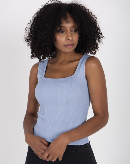 Women's Thick Strap Ice Blue Tricot Blouse