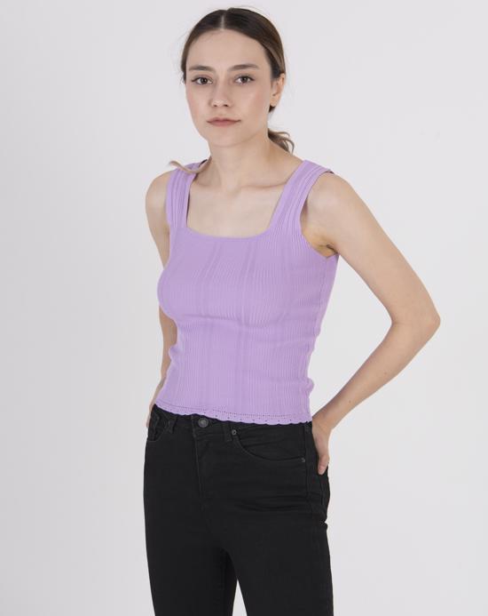 Women's Thick Strap Lilac Tricot Blouse