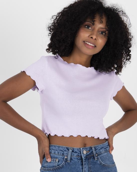 Women's Basic Light Lilac Crop T-shirt