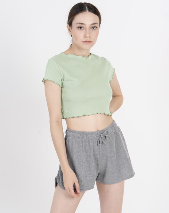 Women's Basic Mint Green Crop T-shirt