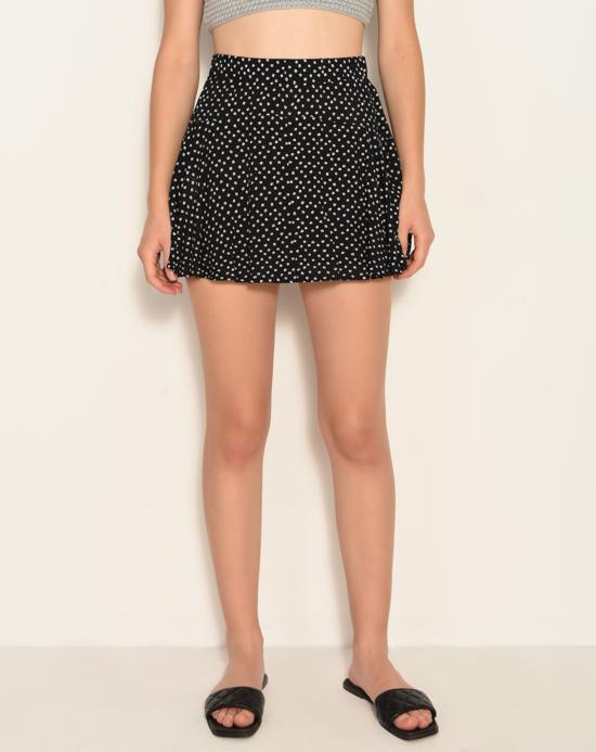 Women's Patterned Black Shorts Skirt