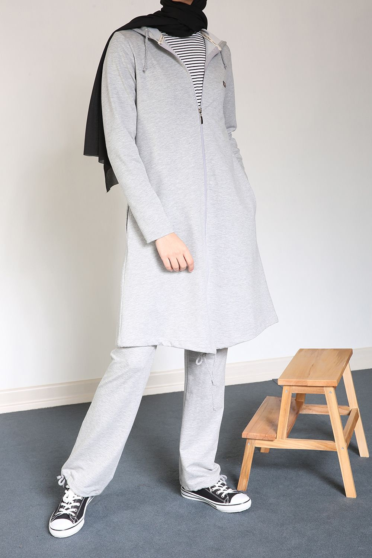 Women's Hooded Grey Melange Tracksuit